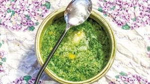 Suzanne Podhaizer's spinach-nettle soup with crème fraîche
