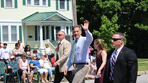 Gov. Peter Shumlin marches Monday in Vergennes' Memorial Day Parade