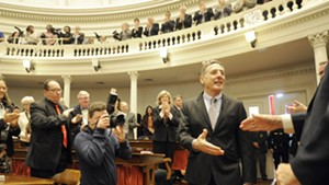 Gov. Peter Shumlin arrives for his State of the State address in January.
