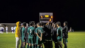 Winooski soccer players at a game on September 28