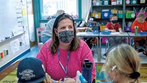 Substitute teacher Adrienne MacIntyre teaching a second-grade class at Mary Hogan Elementary School in MIddlebury