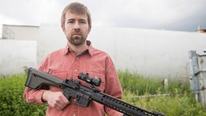 Seven Days political editor Paul Heintz on Monday with an AR-15