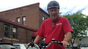 Rick Sharp on an electric bike.