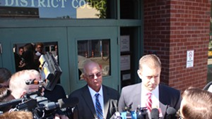 Sen. Norm McAllister, left, and attorney Brooks McArthur Thursday outside Franklin County Superior Court.