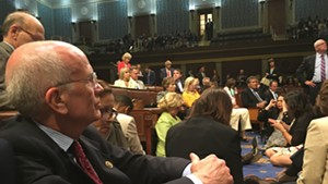 Congressman Peter Welch takes part in a sit-in Wednesday on the House floor.
