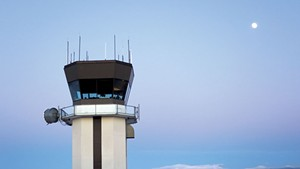 The air traffic control tower at Burlington International Airport