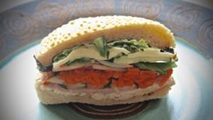 Ham, turkey and cheese sandwich