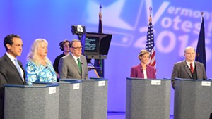 From left, Democratic candidates for governor: Matt Dunne, Cris Ericson, Peter Galbraith, Sue Minter and H. Brooke Paige at a debate Tuesday at Vermont PBS.