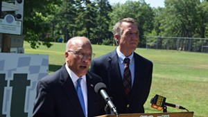 Randy Brock (left) endorses Phil Scott for governor.