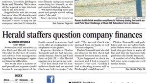 The front page of the Rutland Herald on Friday, August 5, 2016