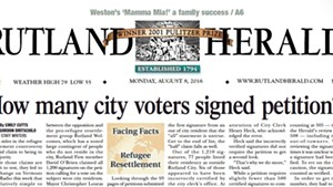 The front page of the Rutland Herald on Monday, August 8, 2016