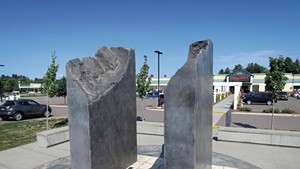 A sculpture in the Milton Square plaza