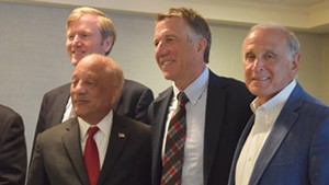 Republicans on Wednesday rallied for party unity. From left to right: Scott Milne, U.S. Senate candidate; Randy Brock, lieutenant governor candidate; Phil Scott, candidate for governor; and Bruce Lisman.