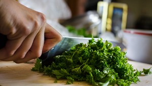 Chopping curly parsley for gremolata