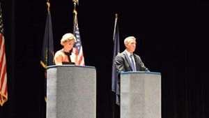 Democrat Sue Minter and Republican Phil Scott, candidates for governor, debate in Randolph on Monday.