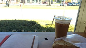 Iced coffee and maple walnut biscotti at Village Wine and Coffee in Shelburne