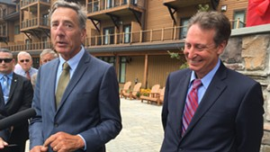 Gov. Peter Shumlin, left, and Michael Goldberg, the receiver appointed by a federal judge to oversee Jay Peak Resort and Burke Mountain