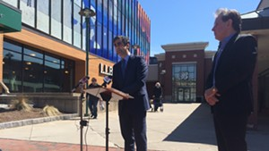 Mayor Miro Weinberger announced his TIF proposal with Don Sinex outside the Burlington Town Center.