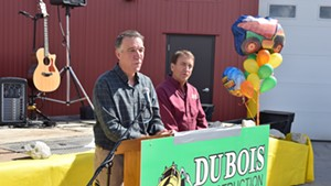 Lt. Gov. Phil Scott (left)  announces Saturday that he would sell his share of DuBois Construction if he's elected governor.