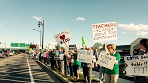 Burlington teachers picketing last month.