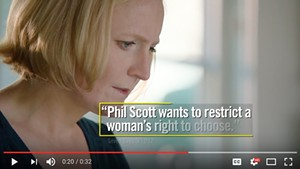 A frame from a recent Planned Parenthood Action Fund ad