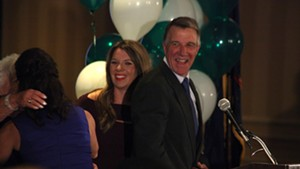 Governor-elect Phil Scott celebrating with his wife, mother and daughter Tuesday night.