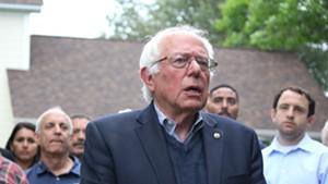 Sen. Bernie Sanders outside his Burlington home in June
