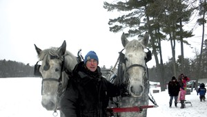 Pat Palmer with two of his Percherons