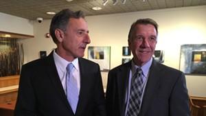 Gov. Peter Shumlin (left) and governor-elect Phil Scott met last week in Montpelier.