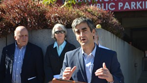 Mayor Miro Weinberger speaking at a news conference about ballot questions