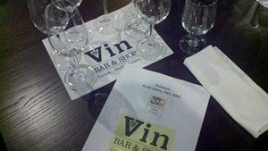 Wine tasting at Vin Bar & Shop in Burlington