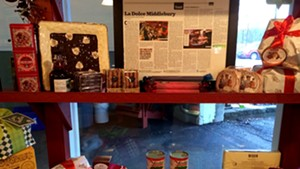 Costello's Market with holiday items and a framed Seven Days article