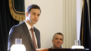 Senate President Pro Tempore Tim Ashe delivers remarks Wednesday on the Senate floor.