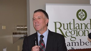 Gov. Phil Scott addresses business leaders Monday in Rutland.