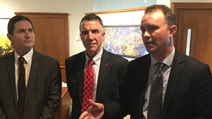 Lt. Gov. David Zuckerman, Gov. Phil Scott and Attorney General T.J. Donovan on Friday outside the governor's office