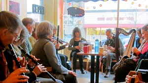 Irish Session players at Bagitos Bagel and Burrito Café in Montpelier