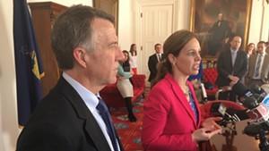 Gov. Phil Scott and Labor Commissioner Lindsay Kurrle