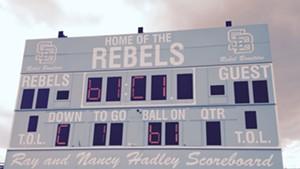 The Rebels scoreboard at South Burlington High School