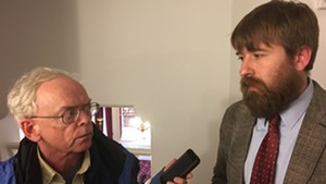VTDigger's Mark Johnson interviews Paul Heintz of Seven Days and the Vermont Press Association after Wednesday's House vote on S.96.