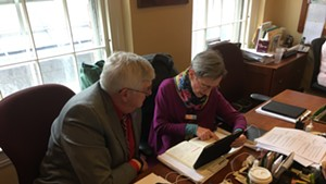 House Government Operations Committee vice chair Ron Hubert (R-Vernon) and chair Maida Townsend (D-South Burlington) going over the wording of S.8.