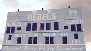 The Rebels scoreboard at South Burlington High School