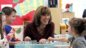 Trisha Scharf with students