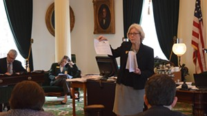 Senate Appropriations Committee chair Jane Kitchel explains the budget proposal to fellow senators Wednesday.