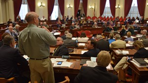 Rep. Tom Burditt (R-West Rutland) speaks in support of a marijuana legalization bill Wednesday on the House floor.