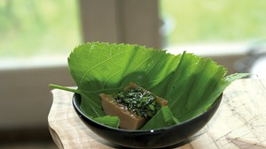 Acorn jelly in a basswood leaf