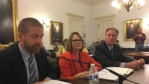 Public Service Board utilities analyst Tom Knauer (left), PSB member Margaret Cheney and PSB staff attorney John Cotter testify before LCAR on Thursday.
