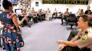 Catarina Campbell speaking to the troopers