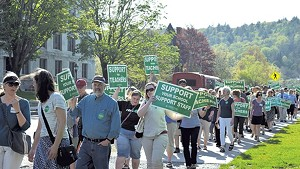 Vermont-National Education Association supporters in May protesting a plan to change how health benefits are negotiated