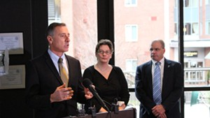 Former governor Peter Shumlin (left) with top health care staffers, Robin Lunge and Lawrence Miller