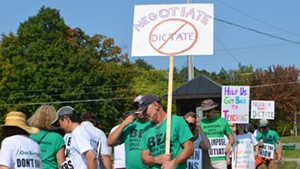 Strikers picketing on Friday
